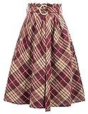 GRACE KARIN Femme Jupe Patineuse Taille Haute Vintage Mi Longue Chic Rétro Midi Jupe Plissée Plaid Partie Soiree Cocktail Bal 2XL CL052-1