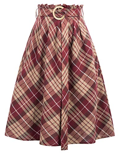 GRACE KARIN Falda de Mujer Cintura Alta Falda a Cuadros por la Rodilla S...
