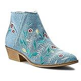 Guess Botines de mujer azul vaquero con flores, color Azul, talla 39 EU