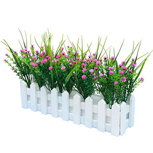 Flikool Gypsophila Künstlich mit Zaun Künstliche Blumen Topfpflanzen Falschung Bonsai Kunstblumen Faux Künstliche Pflanzen 30 * 7.5 * 20 cm- Lila