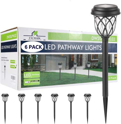 6 lámparas solares LED para jardín, color blanco cálido, para exteriores, resistente al agua, luz solar, iluminación decorativa para caminos, salidas, terrazas, estanques
