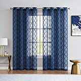 Variegatex Navy Blue Sheer Curtains 84 Inches Long for Living Room Bedroom, Moroccan Embroidered...