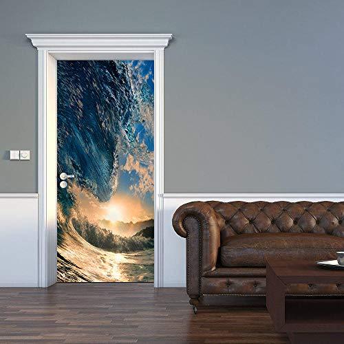 Mural para Puerta Autoadhesivo Pvc Impermeable Extraíble Papel Pintado Puerta Agua Azul Diy decoraciones para Puerta Sala de Baño Estar Dormitorio 90x200cm