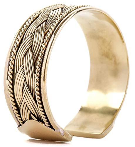 WINDALF Breiter Handmade Vintage Armreif ARAN Ø 6.7 cm Celtic Armschmuck mit Zopf Bohemia Freundschafts Celtic Armband Ethno Freundschaftsband Hochwertige Bronze