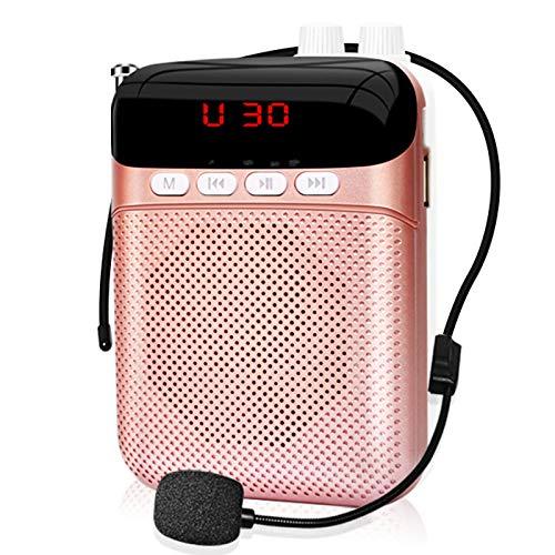 ZHAOZC Amplificador de Voz portátil, Amplificador de Voz con amplicificador de Voz de micrófono Auriculares para Profesores Guías de Tour Entrenadores Aula Canto Canto Instructores de Fitness de Yoga