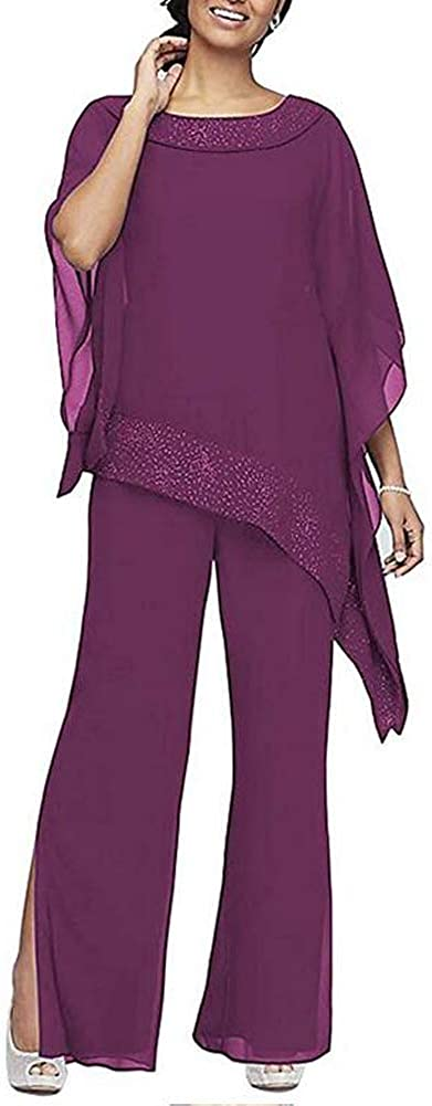 Women's Elegant Grape 3 Pieces Pant Suits Set Chiffon Mother of The Bride Dress with Outfit Wedding Party US16