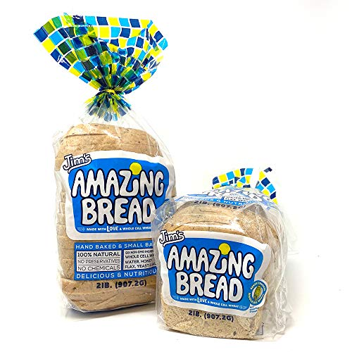 Jim's Amazing Bread / Sliced Whole Cell Wheat Bread 2lb / Gluten Inactive / 5g of Fiber/ 6 All-Natural Ingredients / Non-GMO / Delicious and Healthy (2 Loaves)