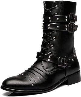 Mens Rivet Buckle Decoration Mid Calf Boot Zipper Punk Rock Martin Boots Abrasion Resistant Shoes Work Utility Footwear