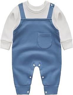 طفل صبي الفتيات كم طويل بذلة مولود جديد حبال قطعتين وهمية رومبير ل ربيع خريف (Color : Blue, Size : 80CM)