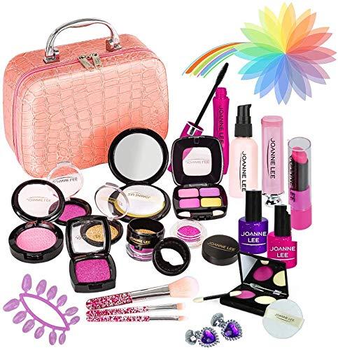 YORKOO Coffret Maquillage Enfant Fille Jouet - 24PCS Kit de Maquillage Semblant avec Jolie Boîte, Cadeau de Noël Anniversaire Princesse Jouet Fille 3 4 5 6 7 8 Ans (Pas de Vrai Maquillage)