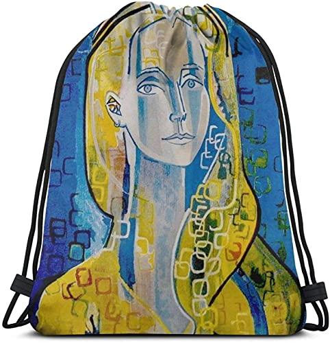 XCNGG Francoise Gilot - Vintage Self Portrait Of Picassos Wife Print Mochila con cordón Gym Sack Pack Solid Cinch Pack Sinch Sack Sport String Bag con bolsillo Bolsa de playa Regalo para hombres y muj