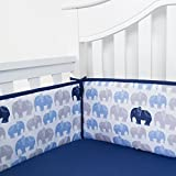 TILLYOU Baby Safe Crib Bumper Pads for Standard Cribs Machine Washable Padded Crib Liner Thick Padding for Nursery Bed 100% Silky Soft Microfiber Polyester Protector de Cuna, 4 Piece/Navy Elephant