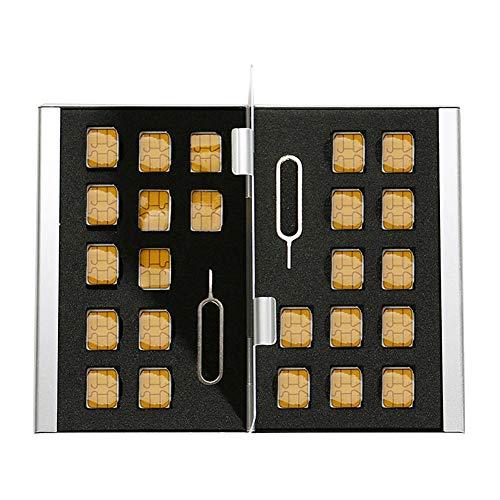 Myymee 24 Nano SIM Kartenhalter und 2 Telefon Allgemeine Nadeln, Metall Aluminium-Legierung SD-Kartenhalter Fall Handy Speicherkarte Aufbewahrungsbox Silber