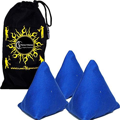 """""""Tri-Its"""" Jonglierbälle 3er Set - Anfänger Pyramidenform Beanbag Jonglieren Säcken +Tasche. Ideal für Kinder und Erwachsene. (Blau)"""