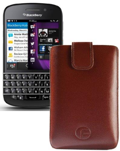 Original Favory ® Etui Tasche für / BlackBerry Q5 / Leder Etui Handytasche Ledertasche Schutzhülle Hülle Hülle *Lasche mit Rückzugfunktion* In Braun