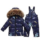 Kids 2-Piece Snowsuit Winter Puffer Jacket and Bib Snowpants Ultralight Skisuit Set Blue 2-3 Years