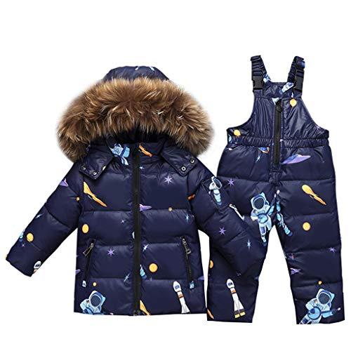 JiAmy Bambino Tuta da Sci - Piumino con Cappuccio + Pantaloni da Sci Completo da Neve 2 Pezzi Tuta da Neve per Bambino Snowsuit Caldo Invernale Salopette e Giacca Cappotto, Blu 2-3 Anni