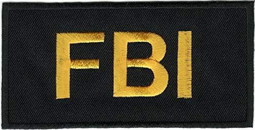 """Strong689 2"""" x 4"""" Tactical Black FBI F.B.I. Embroidered Iron on Sew On Patch"""