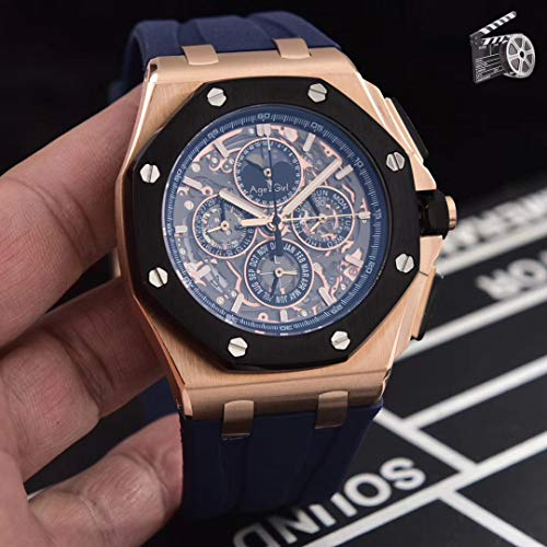 PLKNVT Luxusmarke New Quartz Chronograph Men GMT Uhr Stoppuhr Saphir Edelstahl Uhren Rose Gold Black Rubber Limited   4