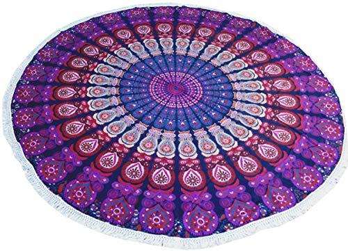 Guru-Shop Rond Indiaas Mandala-doek, Sprei, Picknickdeken, Stranddeken, Rond Tafelkleed Paars/blauw, Katoen, Mandala Bedspreien Handdoeken