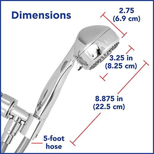 Waterpik Shower Head High Pressure 5 Mode Power Spray Shower, 2.5 GPM Chrome Hand Held With Hose, TRS 553