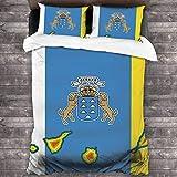 N \ A Juego de edredón de cama con diseño de mapa de las Islas Canarias en la bandera de las Islas Canarias, juego de cama decorativo suave, juego de cama de 3 piezas, 218 x 177 cm, talla única
