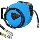 BAKAJI 8052877974160 Enrouleur de tuyau 30 m, raccord 1/4', fixation murale, système de verrouillage automatique, gain de place, accessoire compresseur d'air comprimé, pression max 18 bar, 30 m