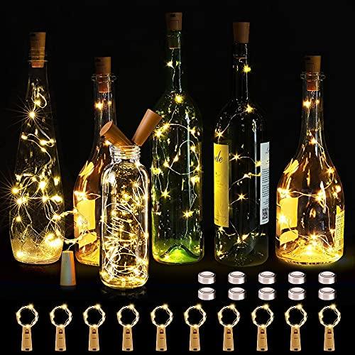 KOTONAMI Luz de Botella,10 Piezas LED Luces Botellas de Vino 2m 20 LED Guirnaldas Pilas Luminosas Decorativas Cobre Luz para BodaNavidad,Fiesta,Jardín(Blanco Cálido)[Clase de eficiencia energé