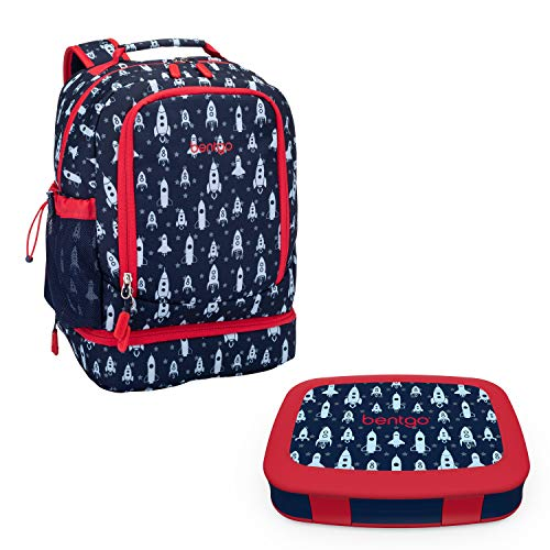 Bentgo 2-in-1 Backpack & Insulated Lunch Bag Set With Kids Prints Lunch Box (Space Rockets)
