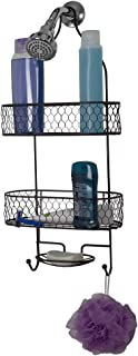 Home Basics Honeycomb 2 Tier Caddy Accessory Hooks for Loofah, Razors and Soap Tray, in-Shower Hanging Storage for Shampoo, Conditioner & Soap, Bronze