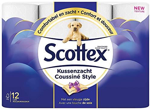 Scottex Papier toilette 3 épaisseurs, Élégant et coussiné, 84 rouleaux, Pack XL, Coussiné Style