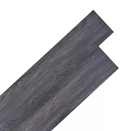 Tidyard Vinyl-PVC Laminat Dielen, Bodenbelag, 5,26 m², rutschfest, Wasserfest, Schwer Entflammbar, Schimmelbeständig, für Küche, Bad, Flur oder Wohnzimmer, 6 Dekors wählbar - Dunkelgrau