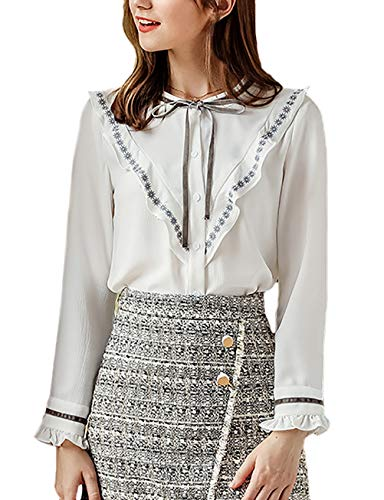 HaiDean Dames bovenstuk, herfst winterkantoor, casual modieus, business hemd, tops, jongens, chique, elegante lange mouwen, ronde hals, met strikje verdikte blouses, hemdblouse
