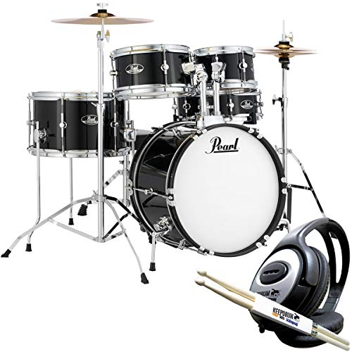 Pearl Roadshow RSJ465C/C31 Junior Drum Kit Black with Keepdrum Headphones and Sticks