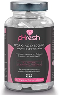 Boric Acid Vaginal Suppositories pHresh - Promotes Healthy Vaginal pH Balance, Supports Vaginal Health 600mg, Bottle of 30...