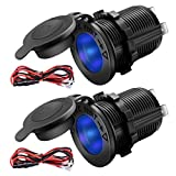 ZHSMS Universal 12V/24V Car Cigarette Lighter Socket Replacement with Blue LED for Car Marine Motorcycle ATV...
