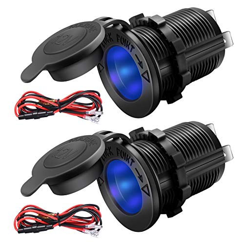 ZHSMS Universal 12V/24V Car Cigarette Lighter Socket Replacement with Blue LED for Car Marine Motorcycle ATV RV and More, Waterproof, Pack of 2