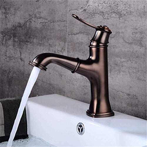 Faucet Basin Faucets Brown Brass Pull Out Bathroom Basin Faucet Deck Mounted Cold Hot Water Sink Crane Mixer Taps