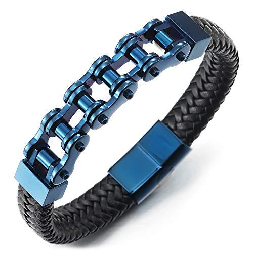 COOLSTEELANDBEYOND Edelstahl Blau Fahrradkette Motorrad Motorradkette Geflochtenes Leder-Armband Armreif für Herren
