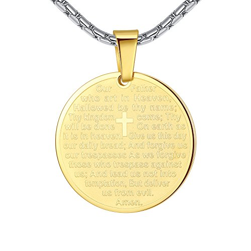 Aoiy Stainless Steel Lords Prayer and Cross Medallion Pendant Necklace, Unisex, 21 Chain