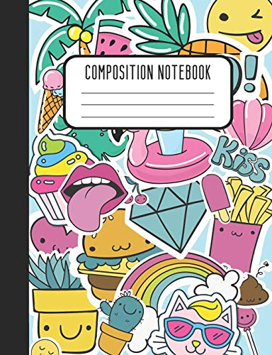 Notebook: Sticker Style Pink Blue Yellow Wide Ruled Lined Blank Composition Notebook Journal Notepad