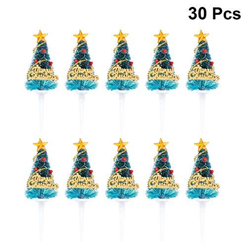 STOBOK 30pcs Decorazioni per Torte Albero di Natale Topper Decorazioni Natalizie per Natale Festa di Compleanno Torta scelte favori (Verde Incluso Decorazioni Neve)