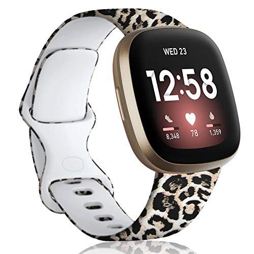 Oielai Cinturino Compatibile con Fitbit Versa 3/Fitbit Sense, Cinturino Sportivo Sostitutivo Silicone Stampato Motivo Floreale Compatibile per Fitbit Versa 3/Sense, Donna Uomo,Piccolo Leopardo