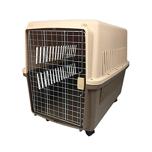 ペットキャリーケース Lサイズ 中型犬用 ハードタイプ キャスター付き 65×46×46cm 茶 ブラウン