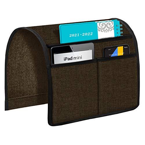 Joywell Sofa-Armlehnen-Organizer, 3 Taschen, Fernbedienungshalter auf Couch und Stuhlarm für TV-Fernbedienung, Zeitschriften, Bücher, Handy, iPad, dunkle Schokolade