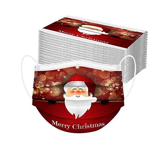 50Pc Adult Santa Print Disposable Dustproof facemasks Breathable Christmas Prints Face Covering Face Protective Bandanas Balaclavas