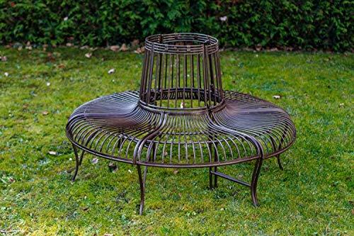Banco de jardín Set árbol Banco Antiguo Estilo Metal de Hierro jardín marrón