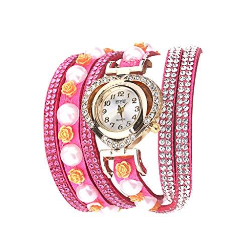 Fenverk Damen Uhr Armbanduhr Frauen Armbanduhr Mädchen Mode Schöne Mode Design Strass Armband Uhren Uhr,Damen Armbanduhr Frauen Armbanduhr MäDchen Mode(Hot Pink#03)