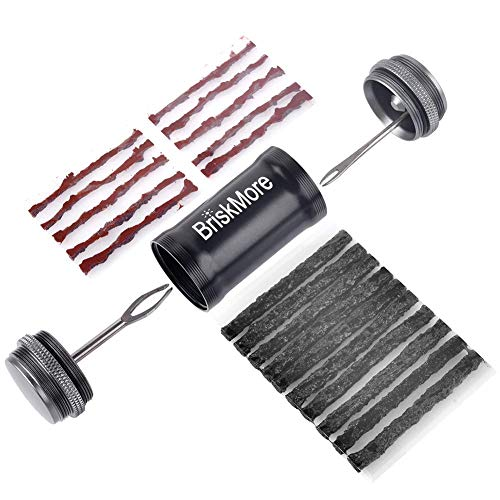 BriskMore Tubeless Tire Plug Repair Kit für MTB und Fahrräder Reifen, 2 Plug Insertion Tools, Remover for Presta Valve Core, Cycling Tire Repair Kits with 10 Bacon and 10 Black Strips