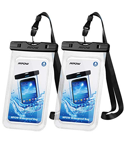 """Mpow 097 Universal Waterproof Case, IPX8 Waterproof Phone Pouch Dry Bag Compatible for iPhone 12/12 Pro Max/11/11 Pro/SE/Xs Max/XR/8P/7 Galaxy up to 7"""", Phone Pouch for Beach Kayaking Travel (2 Pack)"""